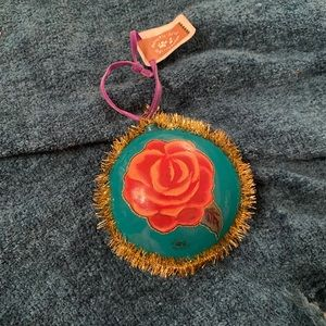 •Anthropologie• Rose Hand Painted Ornament